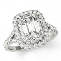 wedding photo - 8x6mm Emerald Supernova Moissanite & Diamond Double Halo Engagement Ring 14k, 18k or Platinum, Cyber Monday Black Friday 2016, Jewelry Gifts