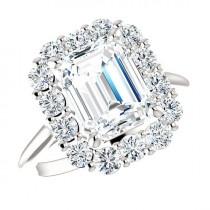 wedding photo - Emerald SUPERNOVA Moissanite & Diamond Halo Engagement Ring 14k, 18k or Platinum, Supernova International, Supernova Moissanite Rings 9x7mm