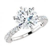 wedding photo - 9mm SUPERNOVA Moissanite te & Diamond Shared Prong Engagement Ring 14k, 18k or Platinum, Supernova Moissanite Engagement Rings for Women 3ct