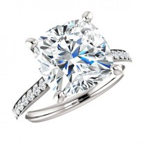 wedding photo - Cushion SUPERNOVA MOISSANITE & Diamond Engagement Ring 14k White Gold, 18k or Platinum - 10mm 5 Carat Cushion Supernova Moissanite Rings