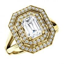 wedding photo - 7x5mm Emerald-Cut Forever Brilliant Moissanite & Diamond Double Halo Split Shank Engagement Ring 14k Yellow Gold, Moissanite Rings for Women