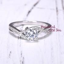 wedding photo - Engagement Ring, Womens Sterling Silver Promise Ring, Silver Cubic Zirconia Ring, Wedding Rings for Her, Womens Promise Band