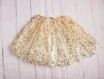wedding photo - Girls Skirt...Flower Girl Rehearsal Outfit / Gold Sequins Skirt....Gold Petti Skirt...Girls Clothing..Baby Girl Outfit