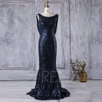 wedding photo - 2016 Navy Sequin Bridesmaid dress, Scoop Neck Luxury Sequin Evening Gown, Cowl Back Mother Of Bride Dress, Long Cocktail Dress Floor(XQ045B)