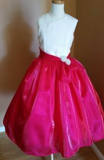 wedding photo - Girls Festive Pink Formal Dress with Chantilly Lace & 2 Big Jeweled Buttons, Handmade Girls Satin Organza Full Skirt Party Celebration Dress