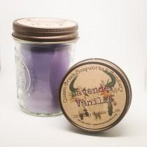 wedding photo - Lavender Vanilla Pure Soy Candle in 8oz Mason Jar with Rustic Lid Highly Scented and Long Lasting