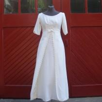 wedding photo - Vintage 1960's Ivory Raw Silk Wedding Dress