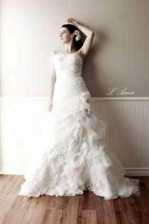 wedding photo - Black or Ivory Strapless Organza Flower Mermaid Wedding Gown Bridal Dress with Puffy Train