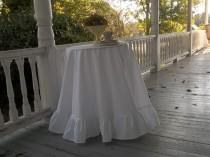 wedding photo - Ruffled Floor Length Tablecloth CUSTOM Ruffled Tablecloth Linen Tablecloth Handmade Wedding Decorations Table Decor French Country Cottage