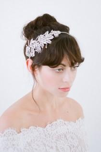wedding photo - Wedding Headpiece,Bridal Headpiece,Wedding Headband,Bridal Headband,Crystal Headband,Silver Encrusted Hair Piece,Crystal Headpiece-Romilly