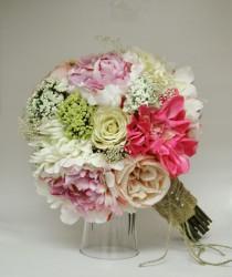wedding photo - Silk Bride Bouquet Peonies Roses Rustic Chic Wedding Shabby Chic Bride Bouquet Pink Cream Spring Bouquet Garden Bouquet