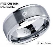wedding photo - Tungsten Wedding Band,Tungsten Wedding Ring,White Diamond Ring,Tungsten Carbide,Mens Tungsten Ring,Unisex,Engagement Band,Anniversary,8mm