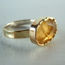 wedding photo - Citrine Ring, 9K Gold Rose Cut Citrine Ring, Yellow Citrine, Birthstone Ring, Citrine Engagement Ring, November Birthstone, Anniversary Gift