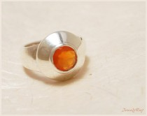 wedding photo - Unique Engagement ring - Sterling silver and Carnelian ring, Wide everyday ring, Orange ring, Everyday ring, Promise ring, Anniversary gift