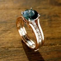 wedding photo - Teal Blue Sapphire Engagement Ring with Diamonds in 14K White Gold and Wedding Band Wrap Jacket in 14K Rose Gold Size 6.5