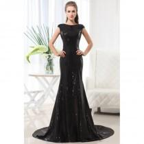 wedding photo - 2017 Amazing Mermaid Black Bateau Dresses With Lace&Embrodiery Full Length Sweep Train online In Canada Prom Dress Prices - dressosity.com