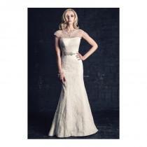 wedding photo - Mermaid Sheer Beaded Illusion Neckline Lace Floor Length Chapel Train Wedding Dress With Sash/ Ribbon - Compelling Wedding Dresses