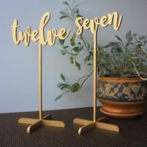 wedding photo - 10 Wedding Table numbers. Gold Table numbers.Table numbers with base.