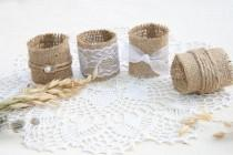 wedding photo - Burlap Wedding Napkin Rings, Rustic Wedding Decor, Rustic Wedding Napkin, Wedding Table Decor,  Rustic Wedding, Rustic napkin holder
