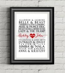 wedding photo - Disney Couples - Wedding/Wall Art Printable