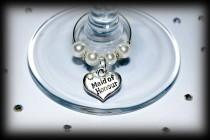wedding photo - Wedding favors favours wine glass charms Top table and other roles available Table decorations and favors Bride Bridesmaid Flower girl