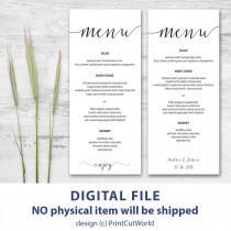 wedding photo - Printable menu card 4x9 Rustic wedding menu template Instant downolad Editable menu cards Kraft menu cards Minimalist Modern