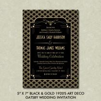 "wedding photo - 5"" x 7"" Black & Gold 1920's Art Deco Gatsby Wedding Invitation Digital File"