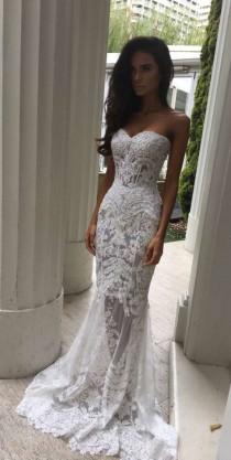 wedding photo - Charming White Lace Wedding Dress,S