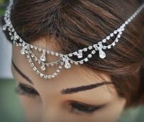 wedding photo - Wedding Tikka Headpiece - Indian Inspired Crystal Jewelry-Bridal hair accessory, hair jewelry,Wedding hair accessory,  rhinestone headband