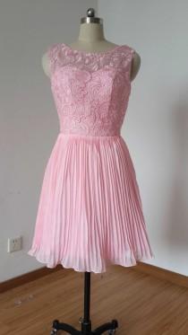wedding photo - 2015 V-back Blush Pink Lace Chiffon Short Bridesmaid Dress Pleating Skirt