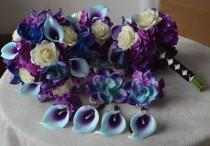 wedding photo - 9 Wedding Bouquet Package -Real touch Blue Purple Calla Lilies Hydrangeas Orchids Cream Roses Silk Bridal Bouquet Boutonnieres Corsage