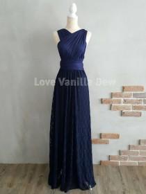 wedding photo - Bridesmaid Dress Infinity Dresses Navy Lace Floor Length Maxi Wrap Convertible Dress Wedding Dress