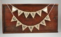 wedding photo - JUST MARRIED Cake Topper  Modern Bunting Banner wedding party neutral beige cotton Wedding Bridal Engagement Celebration Party