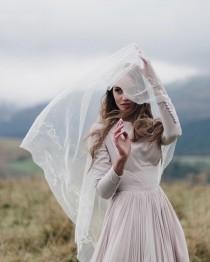 wedding photo - Embroidered wedding veil