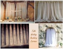 wedding photo - Tulle Backdrop Curtains -Wedding backdrop - Bridal Shower Backdrop - Birthday Backdrop