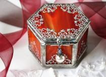 wedding photo - Custom jewelry box, Indian wedding ring box, Engagement ring box, Red wedding jewelry keepsake box, Minature hexagonal jewelery box, For Her