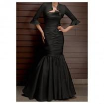 wedding photo - Elegant Full length Taffeta Mermaid black Mother of the Bride Dress in Fashion Design(includes the jacket) - overpinks.com
