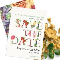 wedding photo -  Modern floral save the date