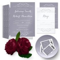 wedding photo -  Lilac gray vintage wedding suite