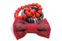 wedding photo - red bow tie men's bowtie embroidered groom's red tie groomsmen neckties birthday boyfriend baby boys shower gift women red ties sturtugjof