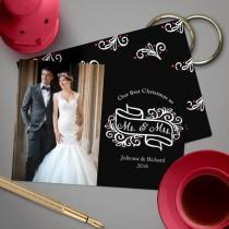 wedding photo -  Modern elegant Newlywed first Christmas photo card