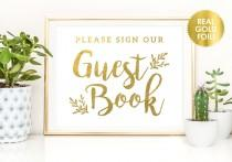 wedding photo - GUEST BOOK Wedding Signs in Gold Foil / Guest Book Wedding Signs / Custom Wedding Signs / Reception Signs  / Guest Book Sign / Peony Theme
