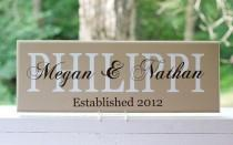 wedding photo - Family Name Sign. Wood Sign with Established Date. Wedding Gifts, Bridal Shower or Anniversary