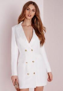 wedding photo - Long Sleeve Tuxedo Dress White