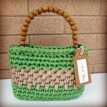 wedding photo - Borsa verde e beige in fettuccia - green and beige bag -  bag of crocheting  - borsa in fettuccia lavorata a uncinetto - made in Italy