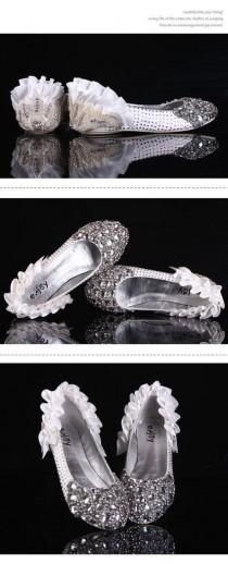 wedding photo - Sparkly Crystal Flat Heels Pointed Toe Rhinestone Wedding Bridal Shoes, S004