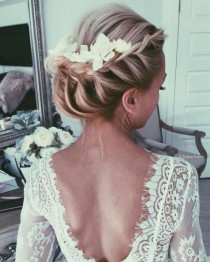 wedding photo - French Braided Updo Flower Hairpiece Wedding Hairstyle
