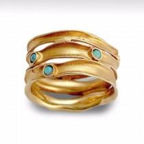 wedding photo - Woodland Opal Band, Multistone Gold Band, Gold stripes Ring, 14k gold band, gemstone wedding band, Opal engagement ring, blue opal band sale