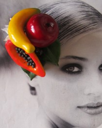 wedding photo - Fruits hair Clip - Carmen Miranda Style - Burlesque - Retro - Rockabilly