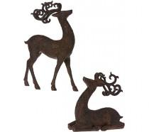 wedding photo - Set Of 2 Metallic Antiqued Reindeer